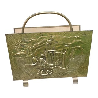 Vintage English Repousse Brass Ship Magazine Rack