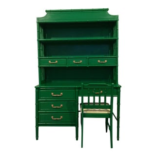 Henry Link Faux Bamboo Painted Desk/Hutch & Chair