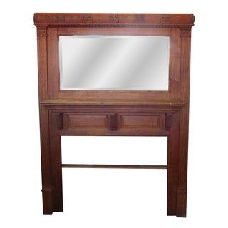 Victorian Quartered Oak Mirrored Fireplace Mantel