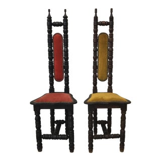 Spanish Mediterranean Wood Throne Chairs - A Pair
