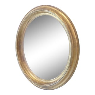 19th Century Oval Giltwood Speckled Mirror