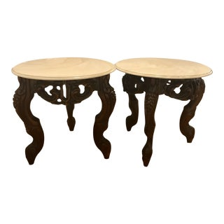 Marble and Wood Side Tables - A Pair