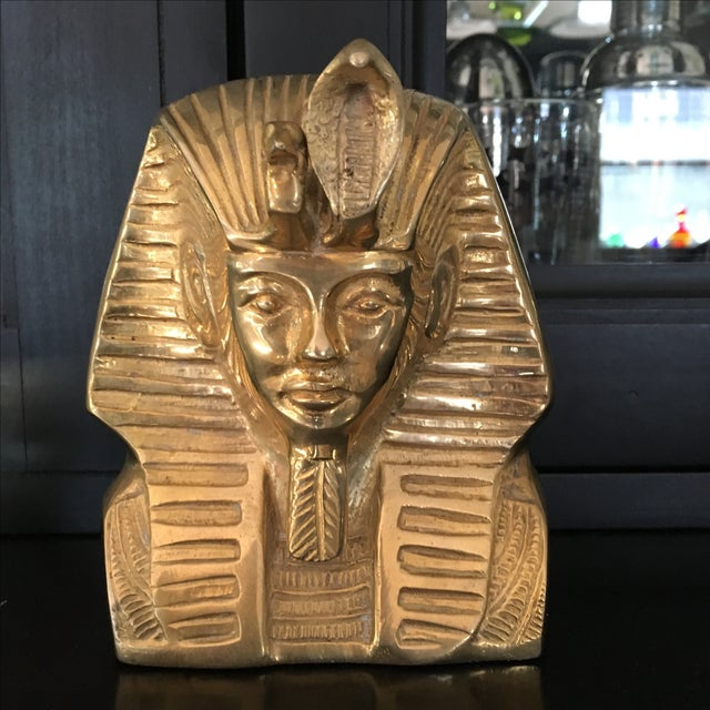 Vintage Solid Brass Egyptian Bust of King Tut - Image 8 of 8