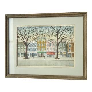 """Shops in Fincastle Virginia"" Watercolor Painting by Estelle Bernstein"