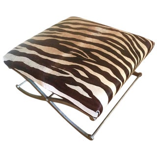 "Zebra Hide ""X"" Frame Bench Ottoman"