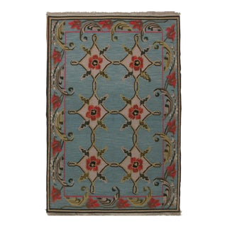 Red Floral Soumak Design Hand Woven Wool Rug - 6' X 9'