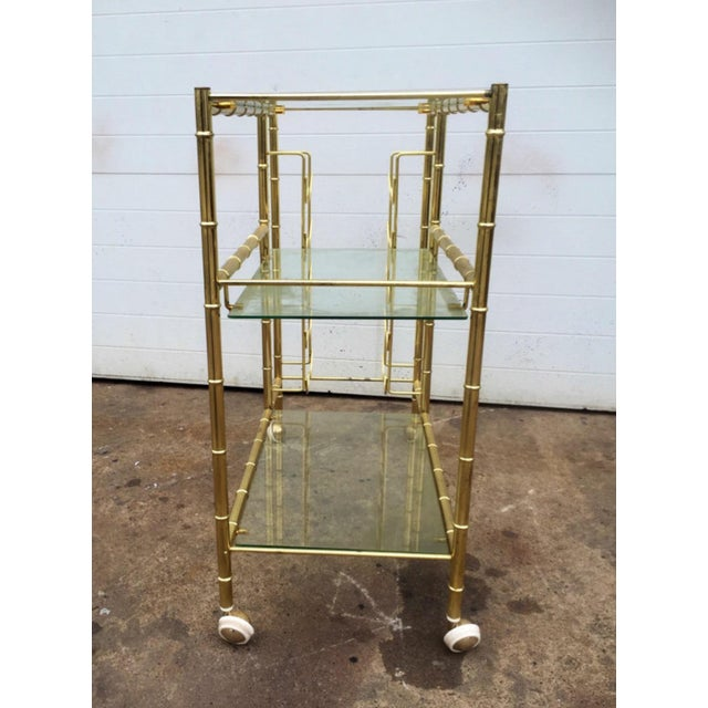 Brass Faux Bamboo Bar Cart - Image 4 of 6