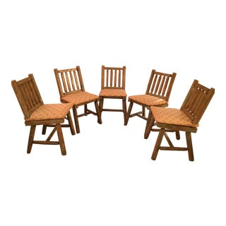 Rustic Log Chairs & Cushions - Set of 5