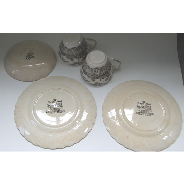 Myott Brown Transfer Ware Royal Mail Plates, Cups, Saucer - Set of 5 - Image 4 of 4