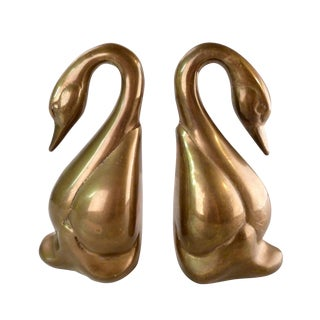 Mid-Century Brass Swan Bookends - A Pair