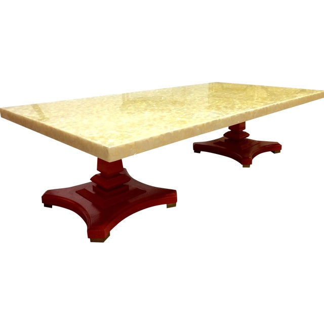 Image of Vintage Hollywood Regency Capiz Shell Coffee Table