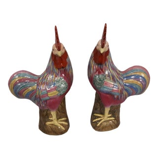 Chinese Export Hand Painted Coclerels Famille Rose Roosters - a Pair