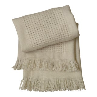 Basket Weave Wool Throw Blanket