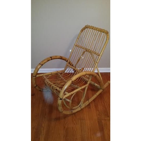 Franco Albini Style Rattan Rocking Chair - Image 2 of 5