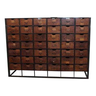 Vintage Handmade 42 Drawer Storage Unit Cabinet