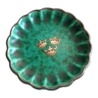 1920s Gustavsberg Argenta Swedish Pottery Fluted Nut Plate