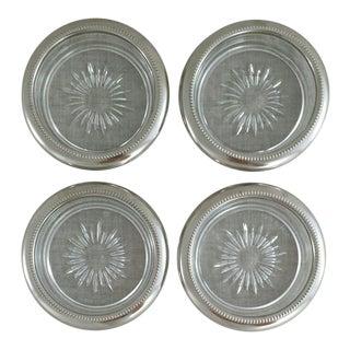 Italian Silver & Glass Coasters - Set of 4