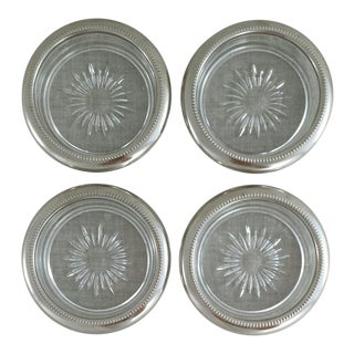 Italian Silver & Glass Coasters - Set of 4