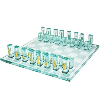 Kiln-Formed Art Glass Chess Set with 24k Gold Game Pieces