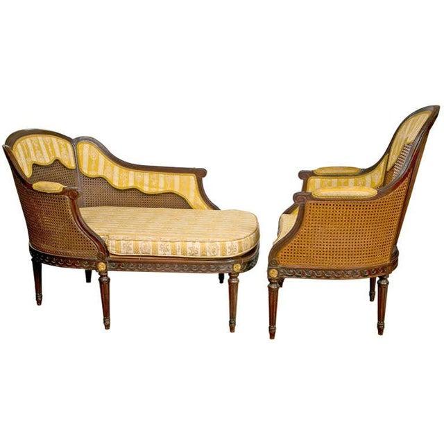frech louis xiv style 2 piece chaise chairish. Black Bedroom Furniture Sets. Home Design Ideas