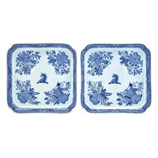 Chinese Export Crested Blue Fitzhugh Footed Trays, Beale Family, Circa 1800.