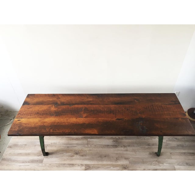 Cast Iron Base Reclaimed Wood Dining Table - Image 7 of 7