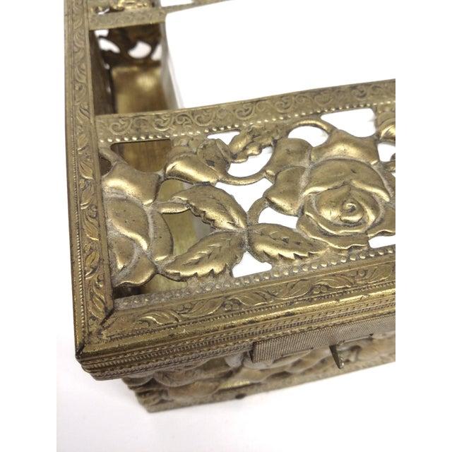 Antique Carved Bronze Metal Tissue Holder - Image 3 of 10