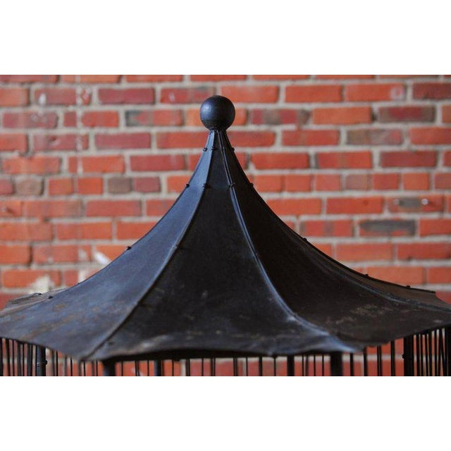Chinoiserie Faux Bamboo Pagoda Standing Bird Cage - Image 6 of 9