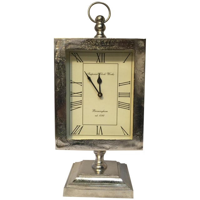 Large Silver Mantle Clock - Image 1 of 8