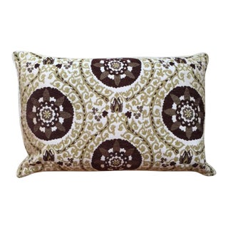 Olive Green and Brown Medallion Lumbar Pillow