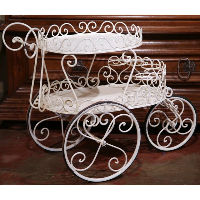 Early 20th Century French Painted Iron Two-Tier Bar Cart on Wheels for Patio - Image 3 of 8