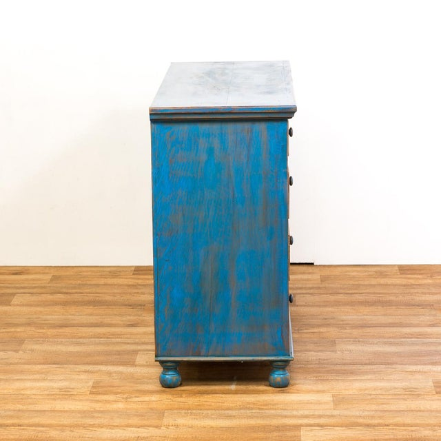 Reclaimed Solid Wood Distressed Blue Chest of Drawers/Dresser - Image 6 of 8