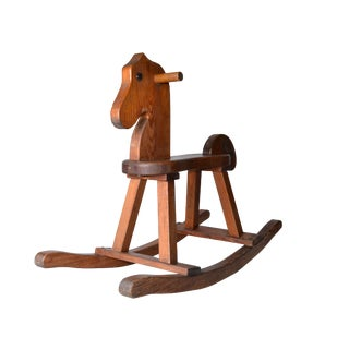 Birch Wood Mid-Century Modern Rocking Horse