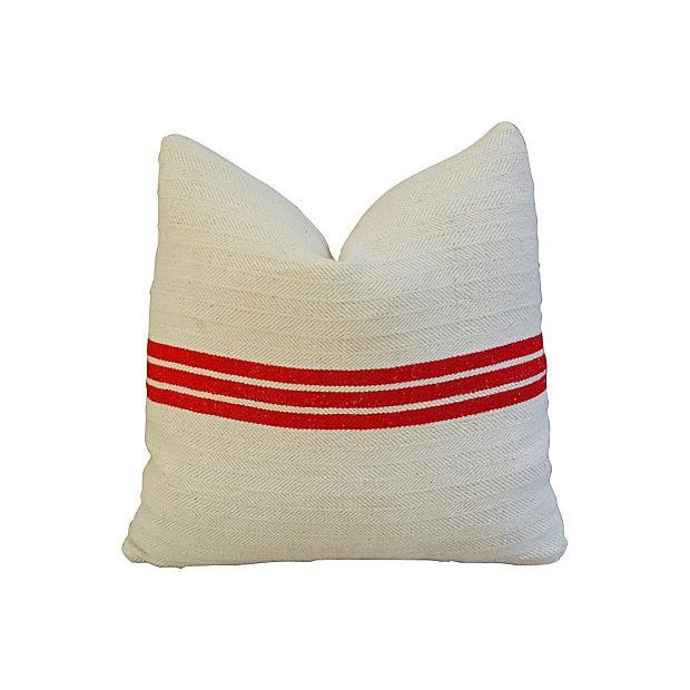 Triple Red Stripe French Textile Pillows - A Pair - Image 3 of 7