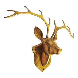 Vintage Brass Deer Head