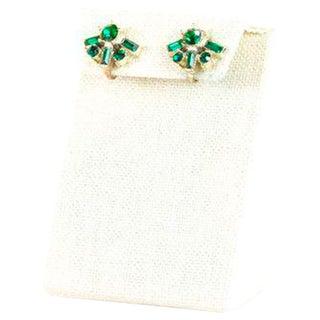 Vintage Coro Dainty Emerald Fan Clip On Earrings