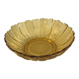 Anchor Hocking Amber Sunflower Glass Bowl