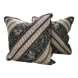 Cotton Indonesian Batik Pillows With Corded Trim - A Pair