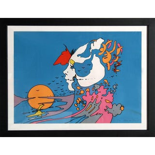 "1972 Peter Max ""Untitled - Face and Sunset"" Print"