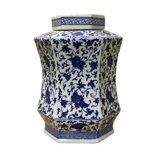 Chinese Blue & White Hexagon Porcelain Jar