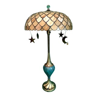 Brass Twist Peacock Table Lamp
