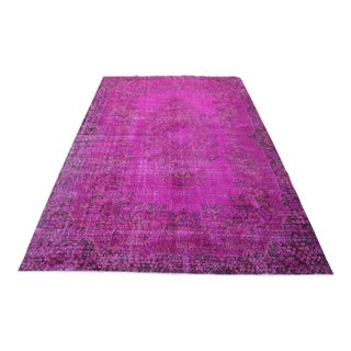 "Fushia Turkish Overdyed Rug - 6'4"" X 10'1"""