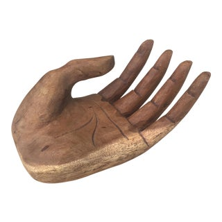 Vintage Bohemian Carved Wood Hand Sculpture
