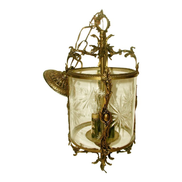 Etched & Rewired German Crystal/Bronze Fixture - Image 1 of 10