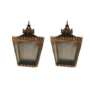 Antique Glass Wall Sconces - A Pair