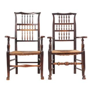 Antique Elizabethan-Style Spindle Chairs - A Pair
