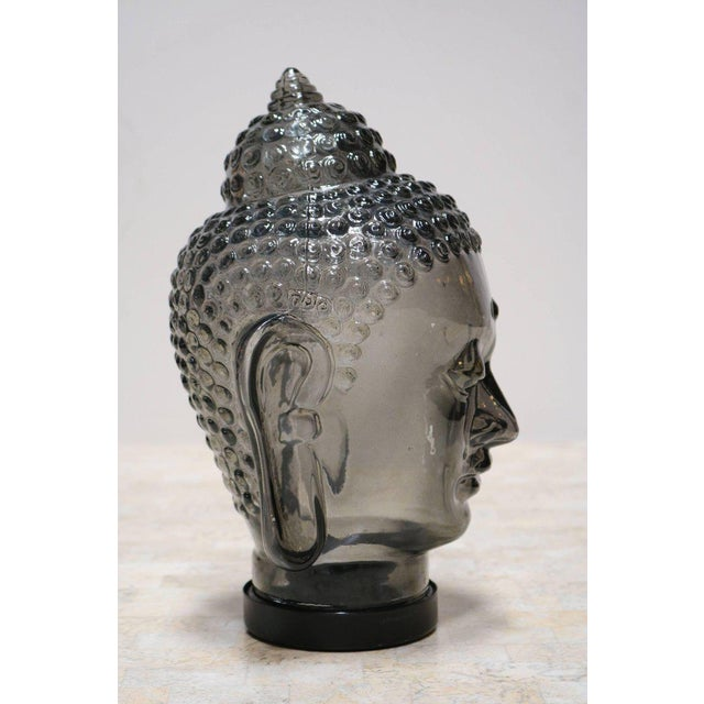 Smoked Glass Buddha Head Sculpture - Image 7 of 7