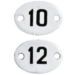 Vintage French Enamel Hotel Room Numbers - a Pair