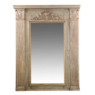 Monumental French Neoclassical Carved and Painted Wall Mirror