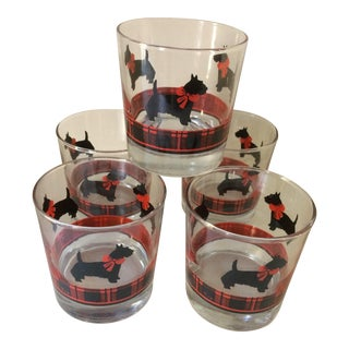 Vintage Scotty Dog Plaid Lo-ball Glasses - Set of 5